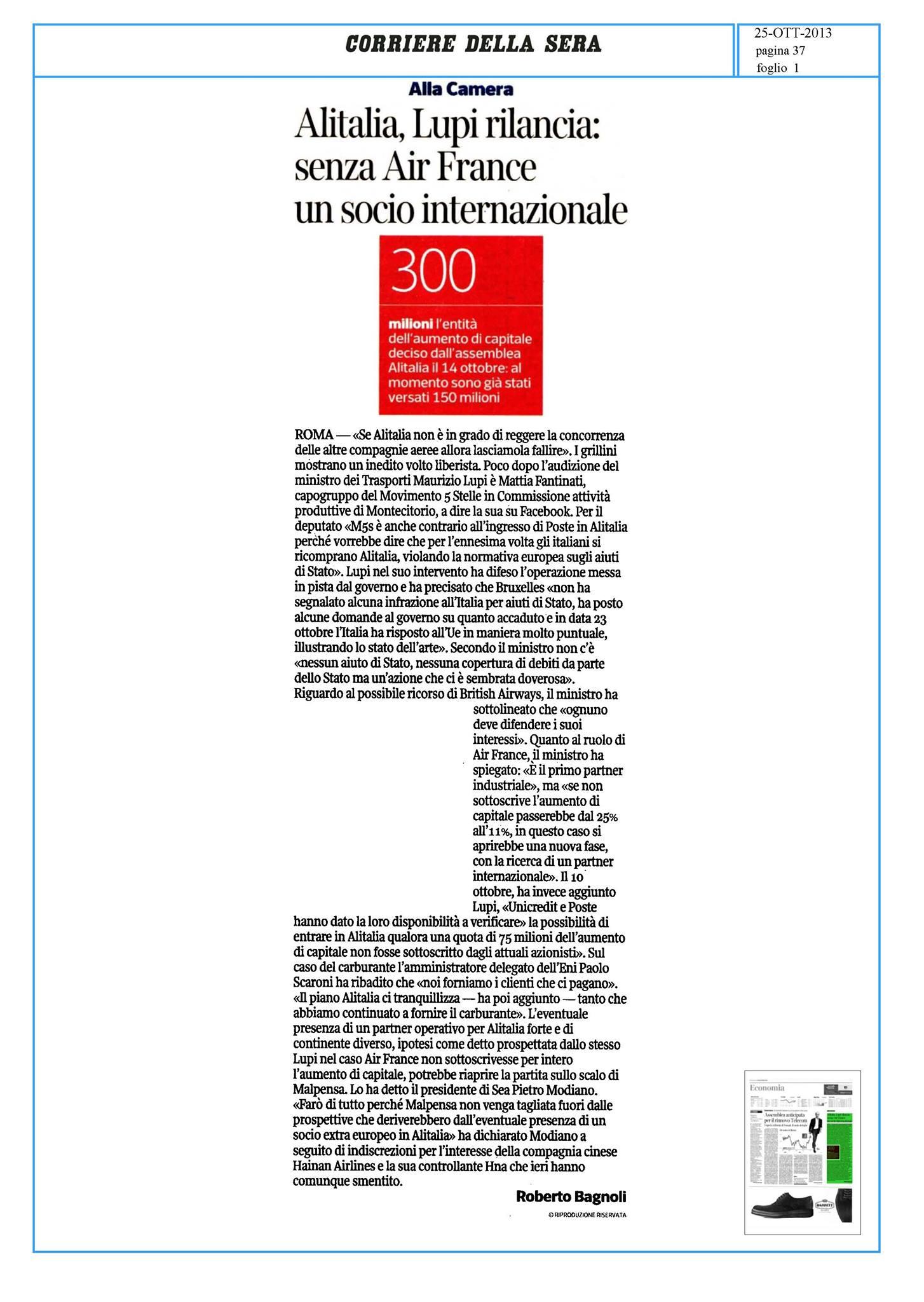 ALITALIA: STOP AL CONTINUO ESBORSO DEI CITTADINI